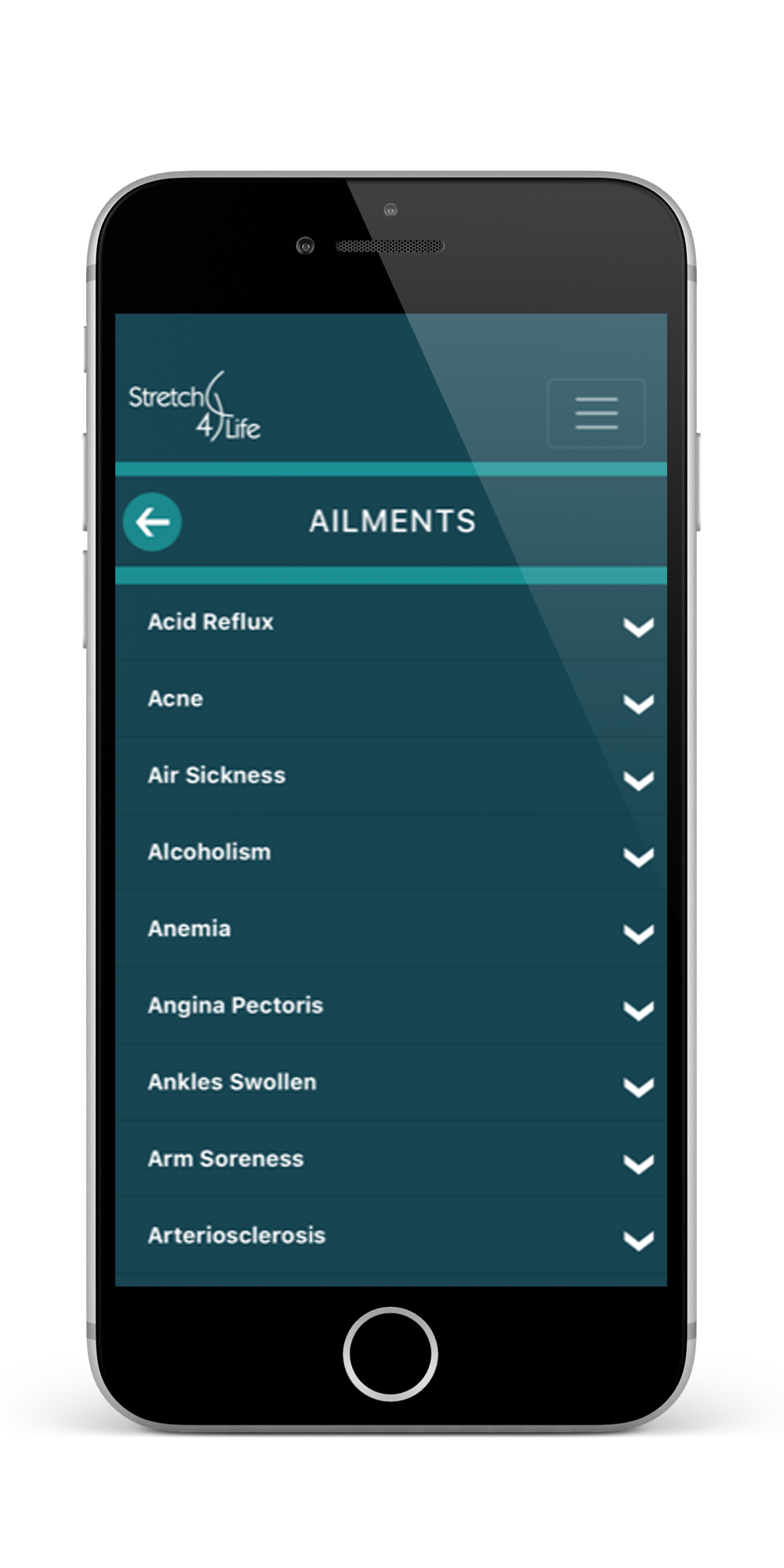 ailments app preview for stretch4life massage clinic
