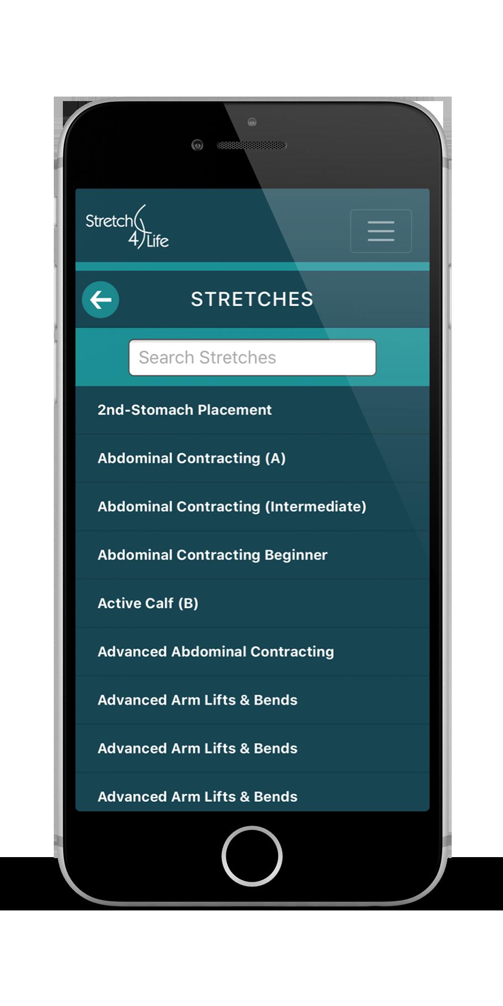 Stretch4Life App Stretches Screenshot